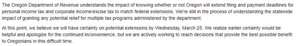 Oregon Department of Revenue Tax Guidance