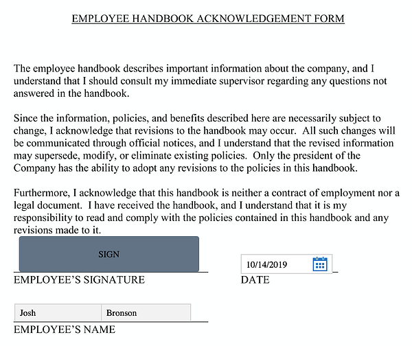 Employee Handbook Acknowledgement Form