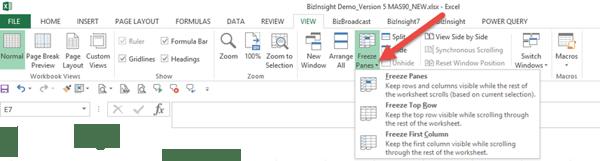 Excel Tips - Freeze Panes1