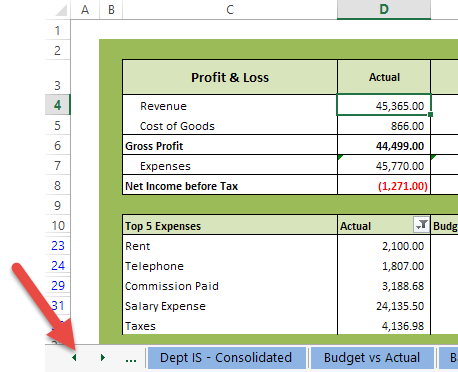 Excel Tips - Navigating Worksheets1