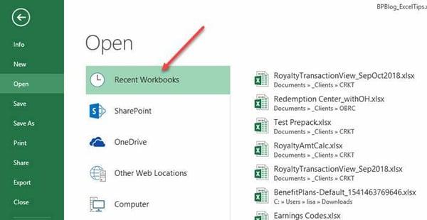 Excel Tips - Recent Workbooks1