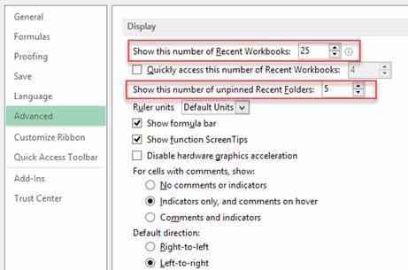 Excel Tips - Recent Workbooks2