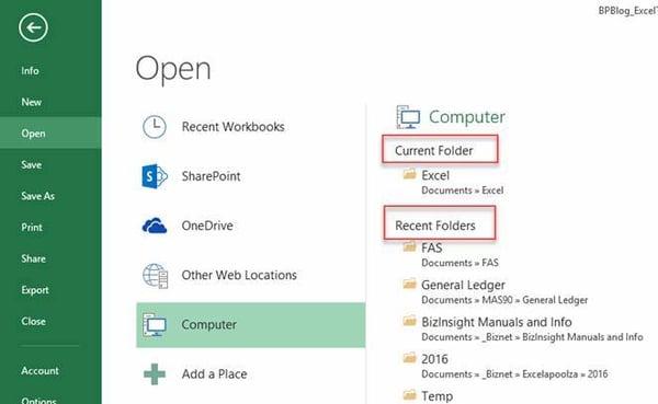 Excel Tips - Recent Workbooks6