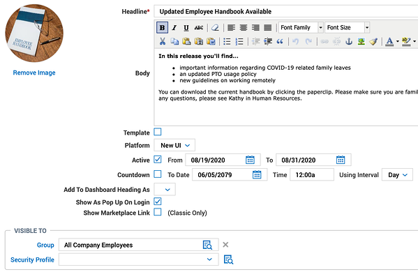 Employee Distribution Handbook Configuration