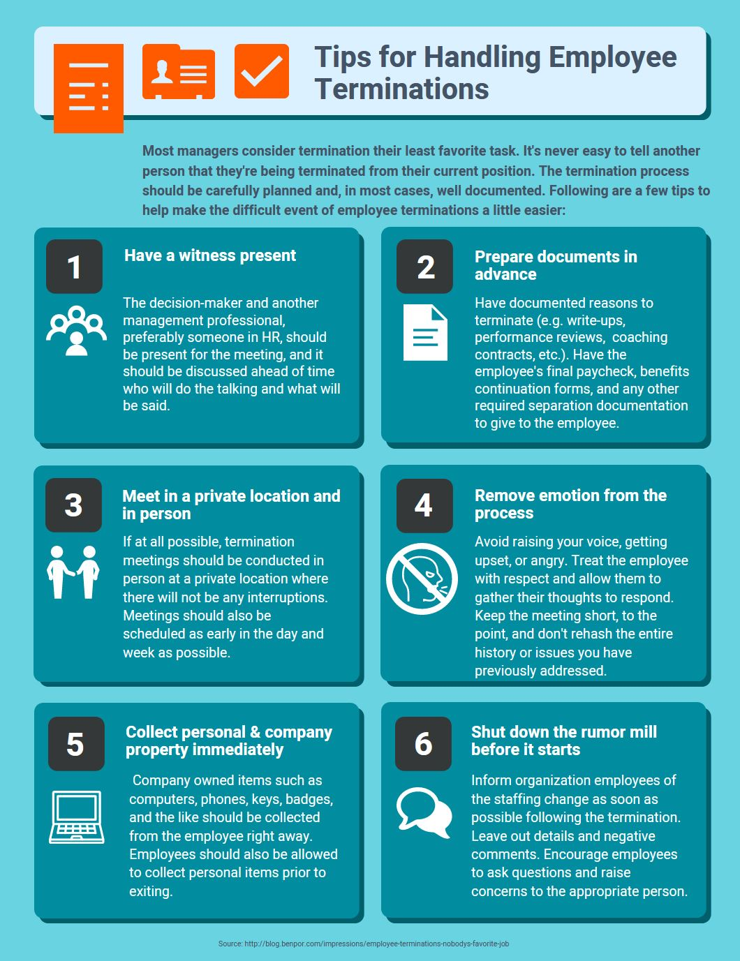 tips for handling employee terminations infographic